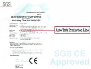 本公司整廠豆腐生產線通過SGS歐規CE認證